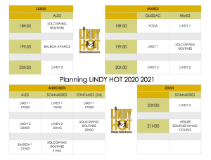 planning Lindy Hot 2020 lindy hop times ales quissac sommiers fontanels
